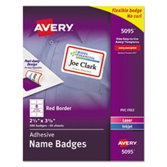 Flexible Adhesive Name Badge Labels, 2 1/3 x 3 3/8, RD, 400/BX