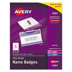 Clip-Style Name Badge Holders w/Inserts, Top Load, 3 x 4, White, 40/Box