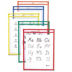 Reusable Dry Erase Pockets, 9 x 12, Assorted Primary Colors, 10/Pack