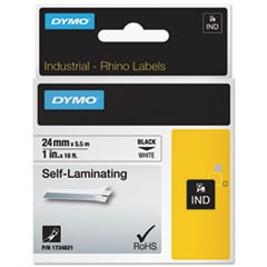 "Industrial Self-Laminating Labels, 1"" x 18 ft, White"