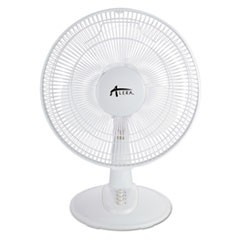 "12"" 3-Speed Oscillating Desk Fan, Plastic, White"