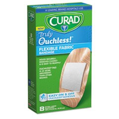 Ouchless Flex Fabric Bandages, 1.65 x 4, 8/Box