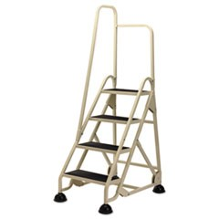 "Four-Step Stop-Step Folding Aluminum Ladder w/Right Handrail, 66 1/4""H, Beige"