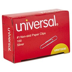 Nonskid Paper Clips, Wire, No. 1, Silver, 1000/Pack