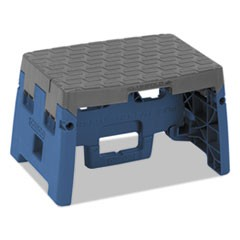 "One-Step Folding Step Stool, 300 lb, 8 1/2"" Working Height, Blue/Gray"