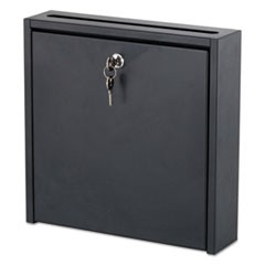 Wall-Mountable Interoffice Mailbox, 12w x 3d x 12h, Black