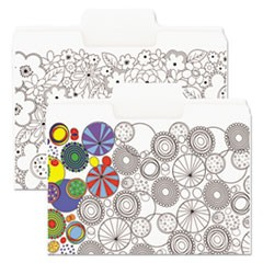 "SuperTab Coloring File Folders, 1/3 Cut, 3/4"" Expansion, Letter, White, 6/Pack"