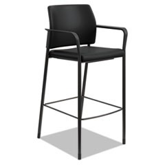 Accommodate� Series Caf� Stool with Fixed Arms, Black Vinyl