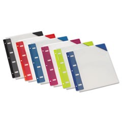 Retractable Binder Pocket, 1/4 x 9, Assorted Colors, 6/Pack