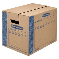 SmoothMove Prime Small Moving Boxes, 16l x 12w x 12h, Kraft/Blue, 10/Carton