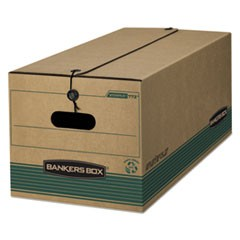 STOR/FILE Extra Strength Storage Box, Legal, String/Button, Kraft/Green, 12/CT