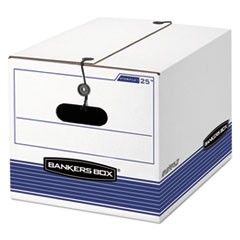 STOR/FILE Storage Box, Legal/Letter, Tie Closure, White/Blue, 4/Carton