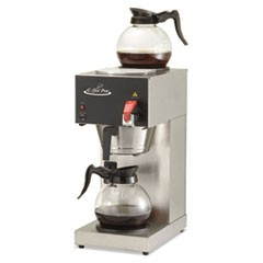 Two-Burner Institutional Coffee Maker, 12 Cup, Stainless Steel, 9 x 16 1/2 x 19