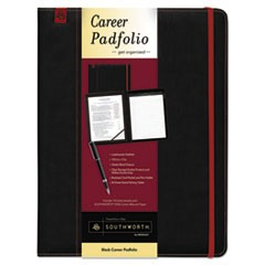Career Pad Folio, 10 1/4 x 13 x 3/4, Leatherette, Black