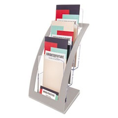 Three-Tier Leaflet Holder, 6 3/4w x 6 15/16d x 13 5/16h, Silver