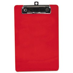 "Plastic Clipboard, 1/2"" Capacity, 6 x 9 Sheets, Red"