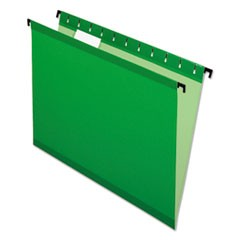 Poly Laminate Hanging Folders, Letter, 1/5 Tab, Bright Green, 20/Box