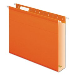 "Reinforced 2"" Extra Capacity Hanging Folders, 1/5 Tab, Letter, Orange, 25/Box"