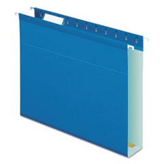 "Reinforced 2"" Extra Capacity Hanging Folders, 1/5 Tab, Letter, Blue, 25/Box"