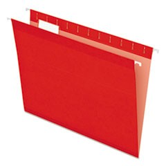 Reinforced Hanging Folders, 1/5 Tab, Letter, Red, 25/Box