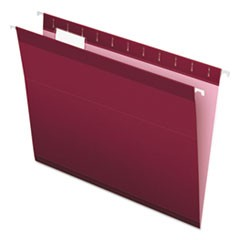 Reinforced Hanging Folders, 1/5 Tab, Letter, Burgundy, 25/Box