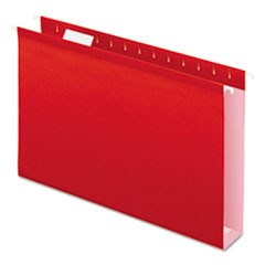 "Reinforced 2"" Extra Capacity Hanging Folders, 1/5 Tab, Legal, Red, 25/Box"