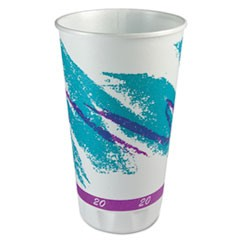Trophy Plus Dual Temp Cups, 20 oz, Jazz Design, White/Green/Purple, 750/Carton