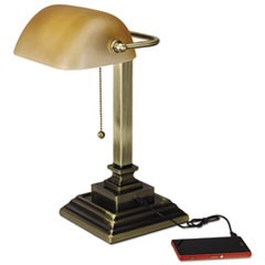 "Traditional Banker's Lamp w/USB, 16""High, Amber Glass Shade w/Antique Brass Base"
