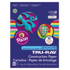 Tru-Ray Construction Paper, 76 lbs., 9 x 12, Assorted, 50 Sheets/Pack