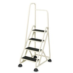 Four-Step Stop-Step Folding Aluminum Handrail Ladder, Beige
