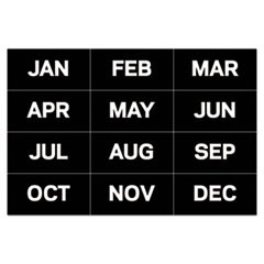"Calendar Magnetic Tape, Months Of The Year, Black/White, 2"" x 1"""