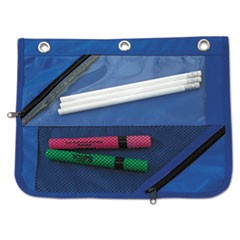 Two-Section Binder Pouch, 11 x 9, Blue, 3/Pack
