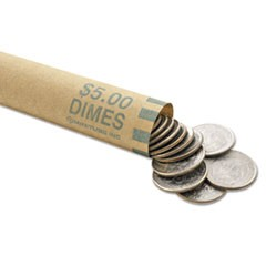 Nested Preformed Coin Wrappers, Dimes, $5.00, Green, 1000 Wrappers/Box