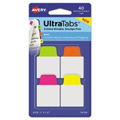 Ultra Tabs Repositionable Tabs, 1 x 1.5, Neon:Green, Pink, Yellow, Orange, 40/PK