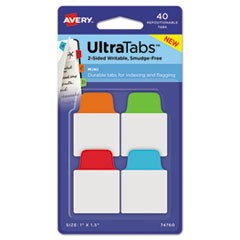 Ultra Tabs Repositionable Tabs, 1 x 1.5, Primary:Blue, Green, Orange, Red, 40/PK