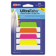 Ultra Tabs Repositionable Tabs, 2.5 x 1, Neon:Green, Orange, Pink, Yellow, 24/PK