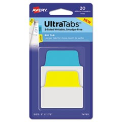 Ultra Tabs Repositionable Tabs, 2 x 1 3/4, Primary: Blue, Yellow, 20/Pack