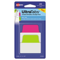 Ultra Tabs Repositionable Tabs, 2 x 1.75, Neon: Green, Pink, 20/PK