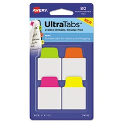 Ultra Tabs Repositionable Tabs, 1 x 1.5, Neon:Green, Orange, Pink, Yellow, 80/PK