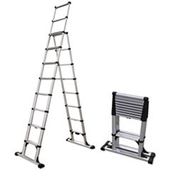 Telescopic A-Frame Ladder, 14 ft, 375lb, 8-Step, Aluminum