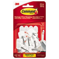 General Purpose Wire Hooks Multi-Pack, S, 0.5lb Cap, White, 9 Hooks & 12 Strips