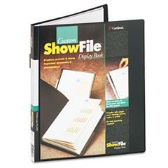ShowFile Display Book w/Custom Cover Pocket, 24 Letter-Size Sleeves, Black