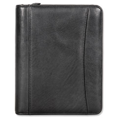 Nappa Leather Ring Bound Organizer w/Zipper, 8 x 10, Black