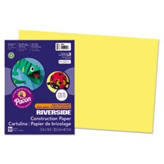 Riverside Construction Paper, 76 lbs., 12 x 18, Yellow, 50 Sheets/Pack