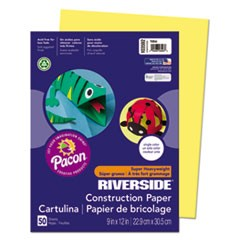 Riverside Construction Paper, 76 lbs., 9 x 12, Yellow, 50 Sheets/Pack