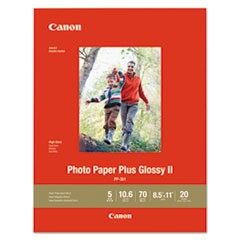 Photo Paper Plus Glossy II, 70 lb, 8 1/2 x 11, White, 20 Sheets/Pack