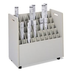 Laminate Mobile Roll Files, 50 Compartments, 30-1/4w x 15-3/4d x 29-1/4h, Putty