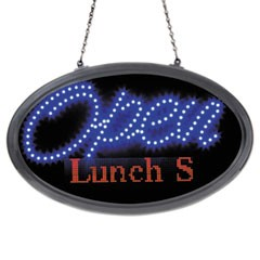 "LED Oval Open Sign with Programmable Message, 14"" x 27"", Red/Blue"