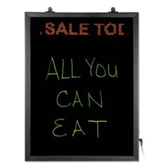LED Erasable Message Board w/Programmable Message Board, 22 1/2 x 16 1/2, Black