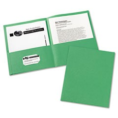 Two-Pocket Folder, 40-Sheet Capacity, Green, 25/Box